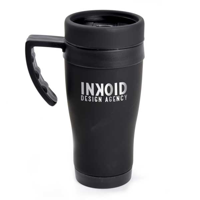 G118 Black Rubberised Travel Mug
